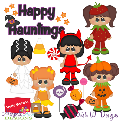 Trick Or Treat Girls SVG Cutting Files + Clipart
