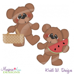 Picnic Bears SVG Cutting Files Includes Clipart