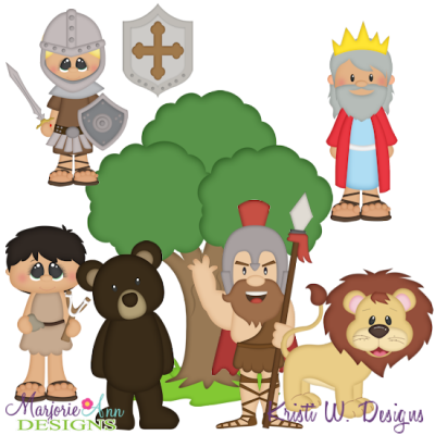 David & Goliath SVG Cutting Files + Clipart