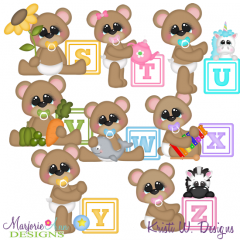 Baby Alphabet Bears S - Z SVG Cutting Files Includes Clipart