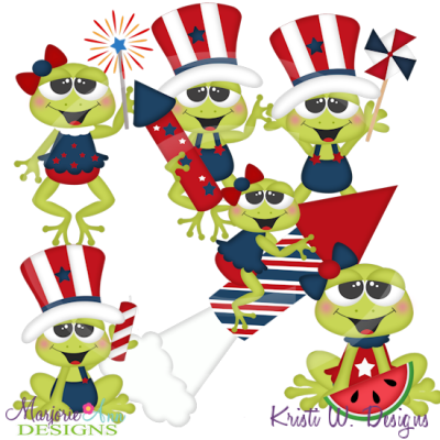 Froggy 4th SVG Cutting Files Includes Clipart