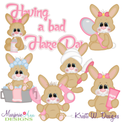 Bad Hare Day SVG Cutting Files Includes Clipart