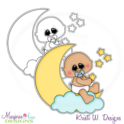 Baby Boy Sitting On Moon Exclusive Digital Stamp + Clipart