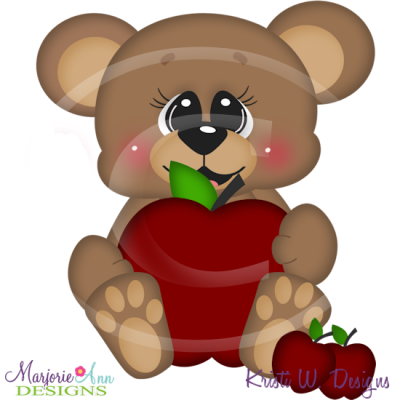 Apple Of My Eye Bear SVG Cutting Files Includes Clipart