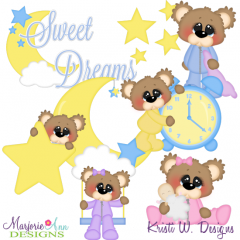 Bubbles The Bear Sweet Dreams SVG Cutting Files Includes Clipart