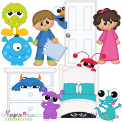 Monster Under The Bed SVG Cutting Files + Clipart