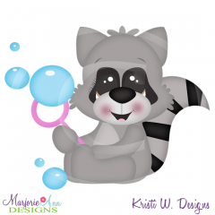Bubble Blowing Fun Racoon SVG Cutting Files Includes Clipart