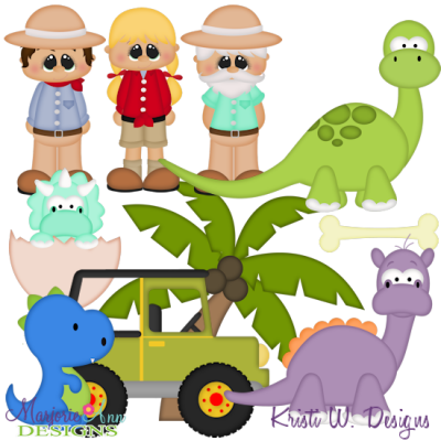 Dinosaur Park SVG Cutting Files Includes Clipart