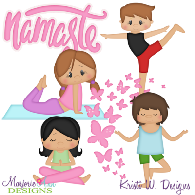 Yoga Kids SVG Cutting Files Includes Clipart