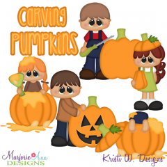 Carving Pumpkins SVG Cutting Files Includes Clipart