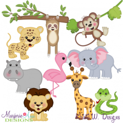 On Safari-Animals SVG Cutting Files Includes Clipart