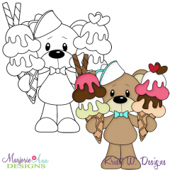 Ice Cream Bear 3 Exclusive Digital Stamp + Clipart