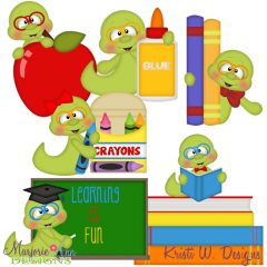 I Love School Worms SVG Cutting Files + Clipart