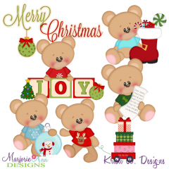 Marshmallow Bear Christmas Joy SVG Cutting Files + Clipart