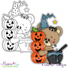 Halloween Bear & Cauldron Digital Stamp + Clipart