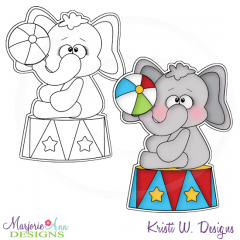 Circus Elephant Digital Stamp + Clipart