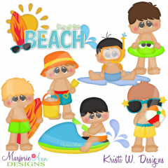 Beach Fun Boys Cutting Files-Includes Clipart