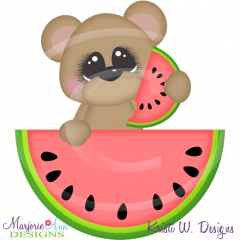 Watermelon Bear SVG Cutting Files Includes Clipart