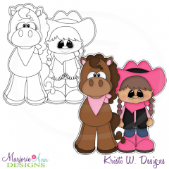 Little Cowgirl Digital Stamp + Clipart
