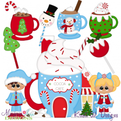 Christmas Village Cocoa Shop SVG Cutting Files Includes Clipart
