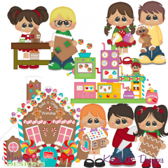 Winter Village~Build A Ginger Workshop SVG Cutting Files+Clipart