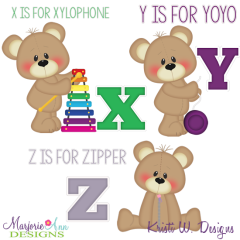 Patches The Bear Alphabet X-Z SVG Cutting Files + Clipart