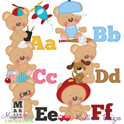 Alphabet Bears A-F SVG Cutting Files Includes Clipart