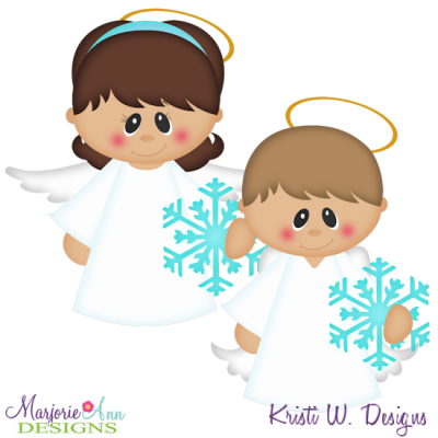 Sweet Winter Angels SVG Cutting Files + Clipart