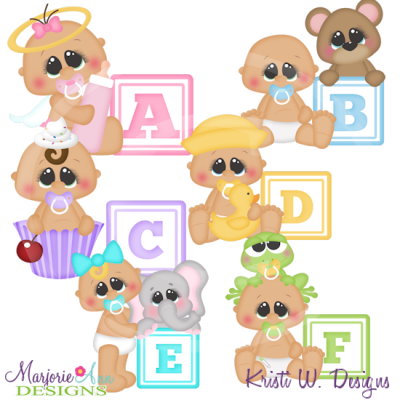 Alphabet Baby~A-F SVG Cutting Files Includes Clipart