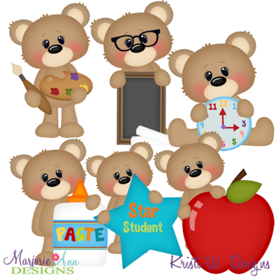 Back To School Bears SVG Cutting Files + Clipart