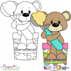 Ice Cream Bear 2 Exclusive Digital Stamp + Clipart
