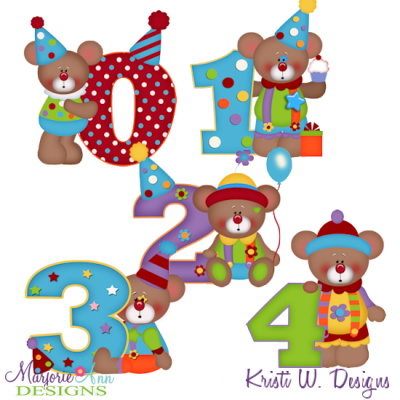 Clowning Around Bears 0-4 SVG Cutting Files Includes Clipart