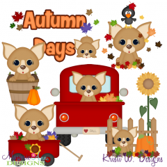 Autumn Days Dogs SVG Cutting Files Includes Clipart