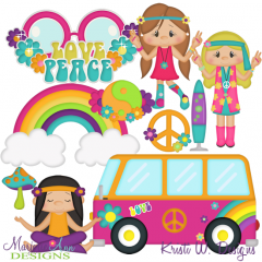 Cuties-Hippie Chicks SVG Cutting Files Includes Clipart