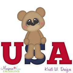 USA Bear SVG Cutting Files + Clipart