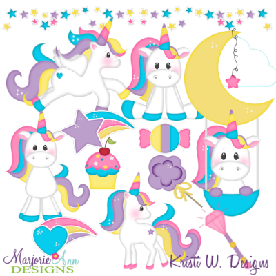 Magical Unicorns SVG Cutting Files + Clipart