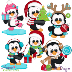 Holiday Penguins SVG Cutting Files Includes Clipart