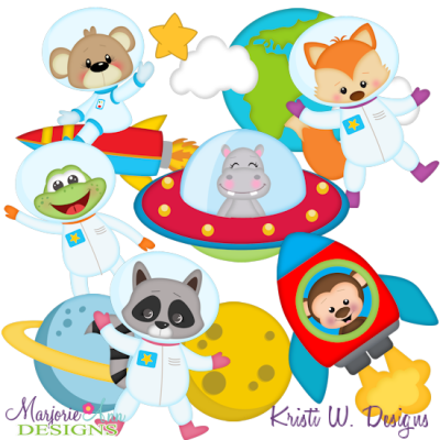 Space Animals SVG Cutting Files Includes Clipart