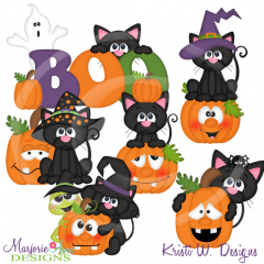 Scaredy Cats SVG Cutting Files Includes Clipart