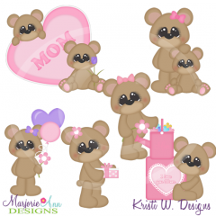 I Love You Mom Bears Cutting Files-Includes Clipart