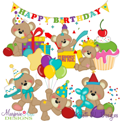 Patches The Bear Birthday SVG Cutting Files + Clipart