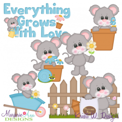 Everything Grows With Love-Mice SVG Cutting Files +Clipart