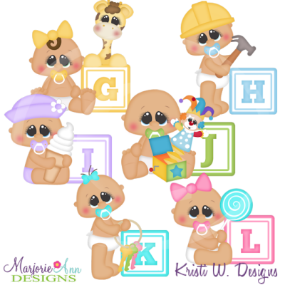 Alphabet Baby~G-L SVG Cutting Files Includes Clipart