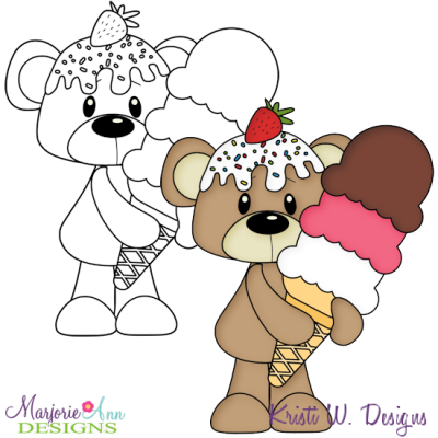 Ice Cream Bear 1 Exclusive Digital Stamp + Clipart