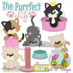 The Purrfect Life SVG Cutting Files Includes Clipart