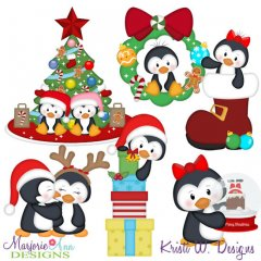 Christmas Penguins SVG Cutting Files + Clipart