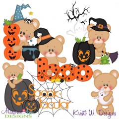 Marshmallow Bear Loves Halloween SVG Cutting Files + Clipart