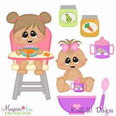 Time To Eat-Baby Girl SVG Cutting Files Includes Clipart