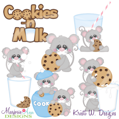 Cookies & Milk Mice Cutting Files-Includes Clipart