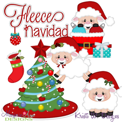 Fleece Navidad SVG Cutting Files Includes Clipart
